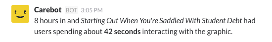 a notification about the graphic on-screen visibility for a story