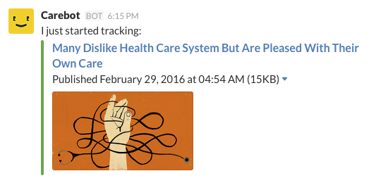 first notification carebot shares about a story